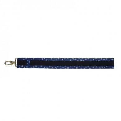 Grand porte clés à personnaliser CONSTANCE - bleu marine etoiles argenté