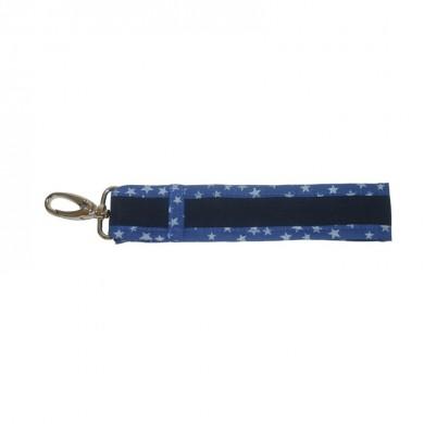 Petit porte clés à personnaliser CORENTIN - bleu marine etoiles argentées