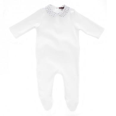 Pyjama bébé personnalisé CHARLOTTE – blanc et col blanc étoiles nacrées