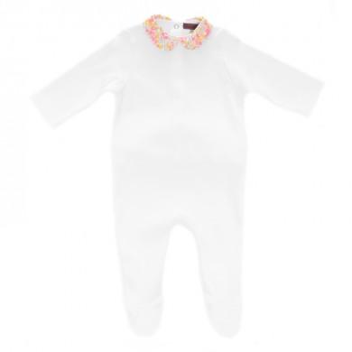 Pyjama bébé personnalisé CHARLOTTE – blanc et col liberty