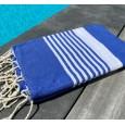 Fouta rayée personnalisable – bleu marine