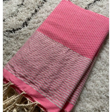 Fouta ni d'abeille rayures argent personnalisable – rose